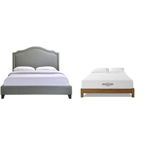 Modway Charlotte Queen Bed in Gray with Modway Aveline 10'' Gel Infused Memory Foam Queen Mattress With CertiPUR-US Certified Foam