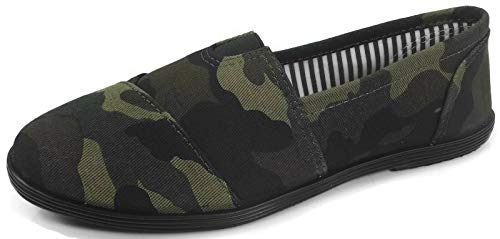 Womens Canvas Slip-On Shoes with Padded Insole, Camouflage, 7.5