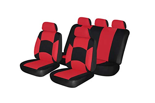 Sport Bucket Seat (AUTONISE Universal fit Classic Sport Bucket seat Cover (Fit Most Car,Truck, SUV, or Van with headrest) Airbag Compatible Full Set)