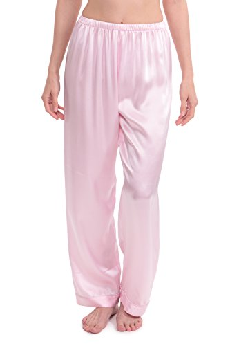 TexereSilk Women's Silk Pajama Sleep Pants (Morning Moon, Barely Pink, Medium) Beautiful Gifts for Wife Sister Fiancee WS0203-BPN-M