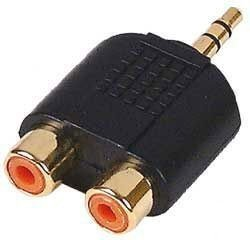 Fpuk- 3.5mm Mini Jack Stereo To 2 X Rca Phono Adapter Gold
