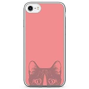 iPhone 7 Transparent Edge Phone Case Animal Love Phone Case Cat Pink Phone Case Cute Cat iPhone 7 Cover with Transparent Frame