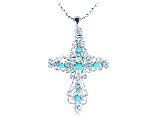 (Alilang Womens Silver Tone Turquoise Blue Beaded Rhinestone Celtic Cross Pendant Necklace)