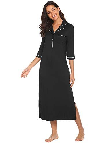 Ekouaer Women's Sleep Shirt V Neck Night Dress Nightgown 3/4 Long Sleeve Loungewear(Black,Medium)