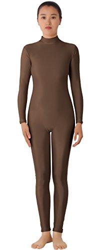 JustinCostume Women's Lycra Long Sleeve Unitard Bodysuit, M, (Brown Unitard)