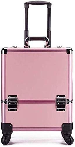 BYCDD Maleta de Maquillaje Profesional para niñas, Estuche Cosméticos Organizador Dresser Maletín Maquillaje Trolley Beauty Case Makeup,Pink: Amazon.es: Hogar