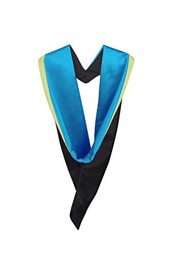 - University academic graduation hood (Bachelor) - UK style hood only (Mid Blue with Light Green Rim)