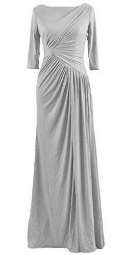 Sleeve Gown Evening Half Boat Celebrity Women Dress Silver Neck Jersey Macloth Long 8wq6aaEA