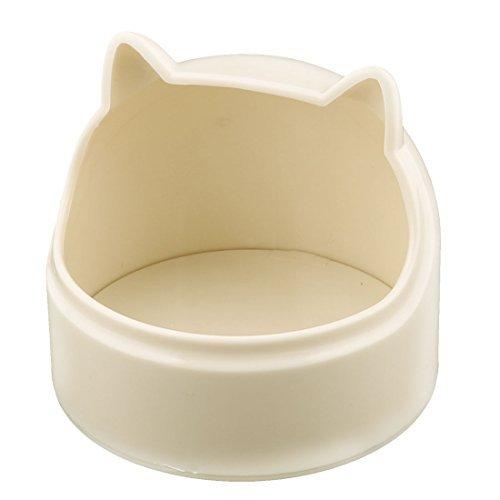 eDealMax Plastique Doggie Tte de Chat Forme alimentaire eau Potable Feeder Gamelle Beige plat