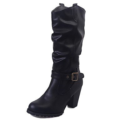 Heart&M Damen Stiefel Komfort Modische Stiefel Herbst Winter Kunstleder Normal Kleid Schnalle Blockabsatz Schwarz Khaki 7,5 - 9,5 cm black