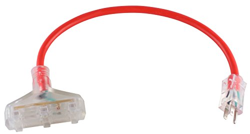 MaxWorks 80696 Heavy Duty Indoor/Outdoor Triple Tap 2 FT. Extension Cord with Lighted Female End-12 AWG/3C-ETL, Red -