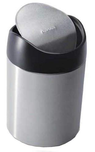 simplehuman Countertop Trash Can, Brushed Stainless Steel, 1.5 L /