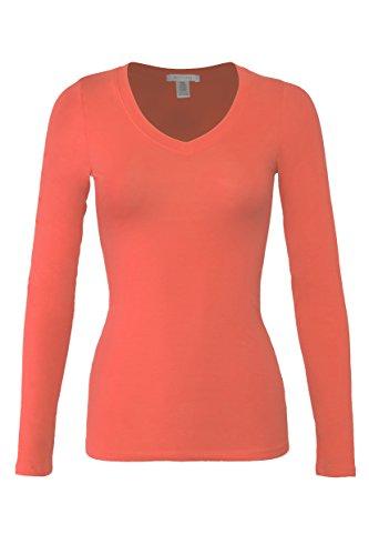 Bozzolo Women's RT1201 Basic V-Neck Long Sleeve T Shirt Top Papaya -