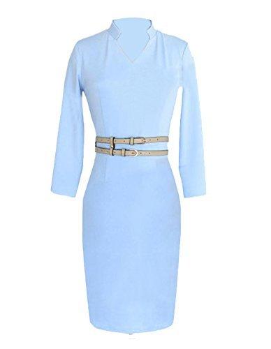 Lunga Ca V Collo Di Donna Manica Mode Manovra Blu Matita Vestito Dalla Fgw0xqqUR