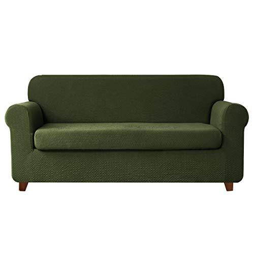 (TOYABR 2-PieceSeersucker JacquardStretchyFabricDinning Room SofaSlipcoversFittedSofaProtector (Loveseat, Green))
