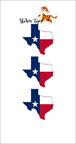 3 - Texas State Map Flag Hard Hat Biker Helmet Stickers Decal