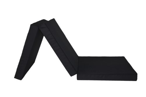 Badenia 3889211117 Gästematratze, 3-teilige Klappmatratze, 196 x 65 cm, schwarz