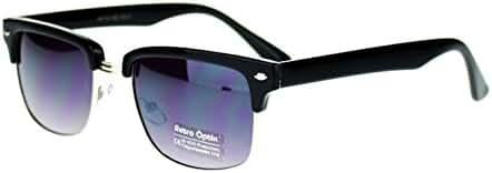 Black and Silver Square Half Rim Retro Style Sunglasses