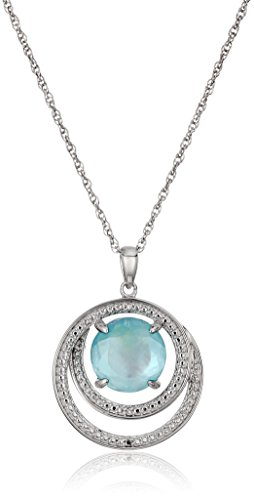 Sterling Silver Double Circle Genuine Quartz White Mother of Pearl Doublet, Baby Blue Topaz Shade Pendant Necklace, 18