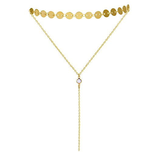 Sedmart Gold-Filled Choker Metal Layered Choker Necklace with Pendant Dainty Y Necklace Double Choker Coin Tassel Necklace Gifts for Women Valentine's Day Sale
