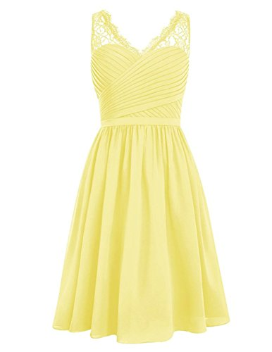 Bridesmaid Dress Short Lace Prom Dress Chiffon Evening Gown for Wedding Yellow XL