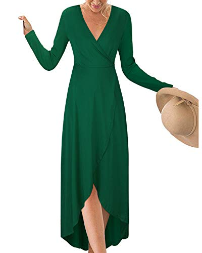 (KILIG Womens V Neck Long Sleeve Asymmetrical Casual Maxi Dresses (Green-1, L))