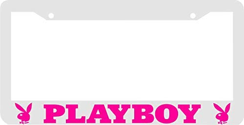 Fabri.YWL White Pink Playboy License Plate Frame -