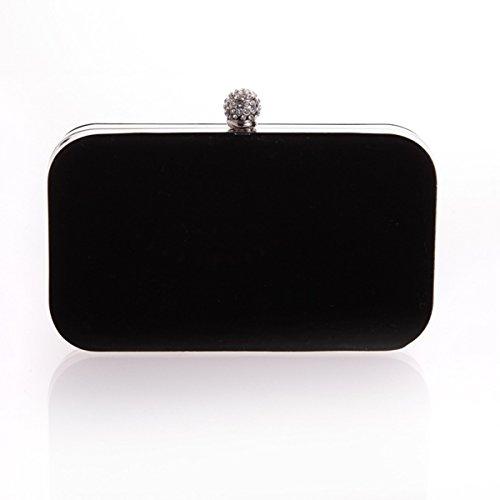 embrague mujeres rectangular de para sencilla franela Negro bolso Rhinestones Flada Black noche boda de RIxARd