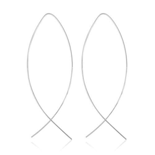 RIAH FASHION Modern Metallic Arc Bar Pull Through Threader Earrings - Simple Lightweight Curved Vertical Drop Open Fish Hoop Dangles (Ribbon Threaders - Silver)