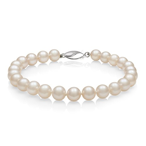 Sterling Silver AA Quality 6.0-7.0mm White Cultured Freshwater Pearl Strand Bracelet, 8