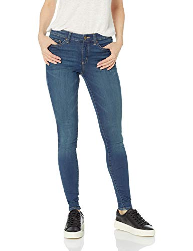 Jeans Blue Rise Mid - Amazon Brand - Daily Ritual Women's Mid-Rise Skinny Jean, Mid-Blue, 28 (6) Regular