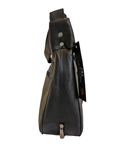 Borsa Pelle Nera - 5 Tasche Con Zip - 2 Grandi Sezioni Con Zip - Tasca OMBRELLO - Borse a Tracolla Di Medie Dimensioni Borse Da Donna Di Quenchy London QL174