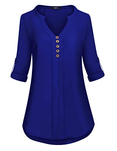 Marbetia Women Shirts and Blouses, Woman 3/4 Sleeve Flowy Henley Shirts Dressy Chiffon Tunic Blouse for Work Loose Business Fall Shirt for Leggings Casual V Neck Women Tops Royal Blue XX-Large