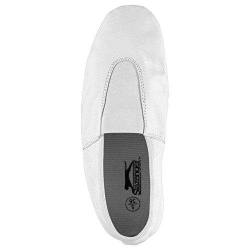 Slazenger Ninos Cuero Gimnasio Junior Zapatos Running Entrenar Paneles Cosidos Blanco