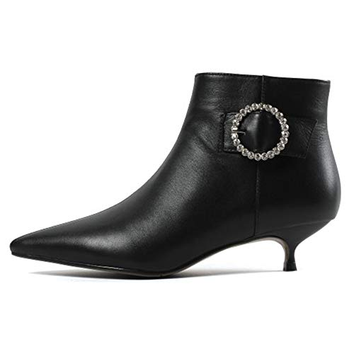 MERUMOTE Women's Leather Ankle Boots Low Heels Shoes Zipper Winter Booties Black With Diamons