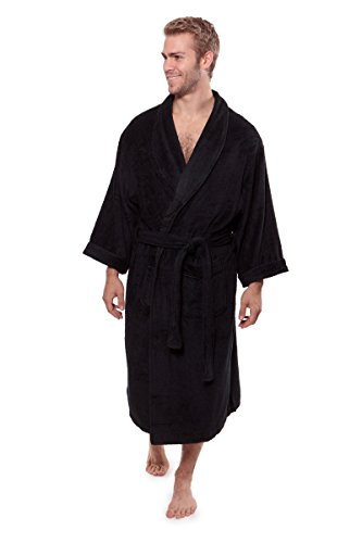 (Texere Men's Luxury Terry Cloth Bathrobe (EcoComfort, Black, SM))