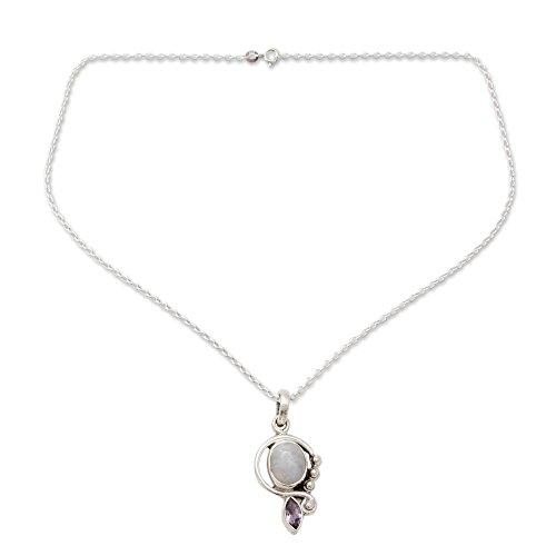 (NOVICA Rainbow Moonstone Amethyst .925 Sterling Silver Pendant Necklace, 18