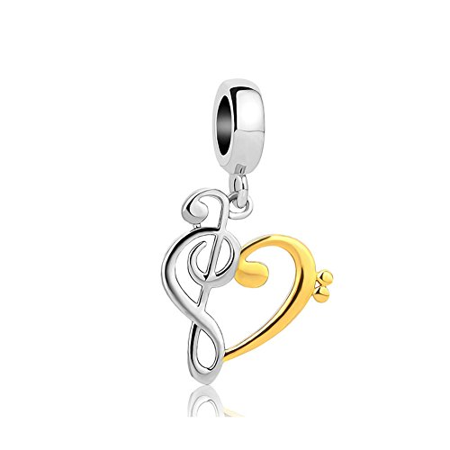 (AYHU Gold Plated Heart Love Music Note Charm Beads For Bracelets)