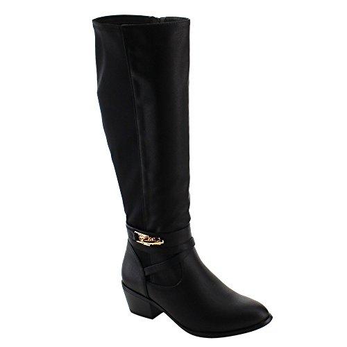 NATURE BREEZE FE35 Women's Knee High Buckle Strap Mid High Block Heel Boots, Color:BLACK, Size:10