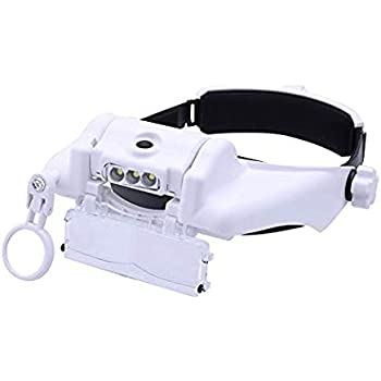 LED Lamp Light Headband Jewelry Magnifying Glass Head Loupe Reading MagnifierQ8☉