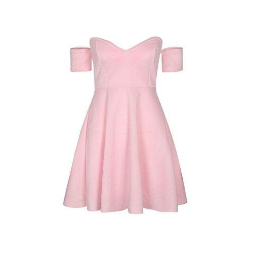 Dalla A Vestito Spalla Providethebest Solido Donne Con Le V Summer Dress Scollo Giornaliera Mini Oscillazione Notevole Rosa Fuori BoxrCde