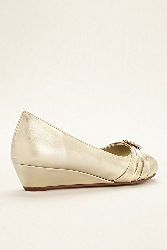 Davids Bridal Anette Low Wedge Peep Toe Pump Style Anette Argento