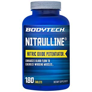 BodyTech Nitrulline Nitric Oxide Potentiator to Help Energize Nourish Working Muscles, 60 Servings 180 Tablets