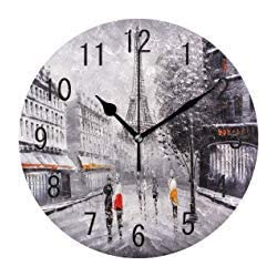 Fashion Street Oil Painting Paris Eiffel Tower France Round Wood Wall Clock for Home Decor Living Room Kitchen Bedroom Office School