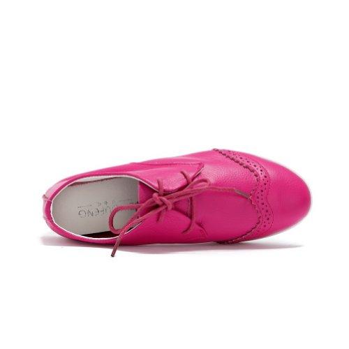 Amoonyfashion Damesschoenen Met Dichte Neus En Punt Lage Hakken Pumps-schoenen Met Ruches, Rood, 35