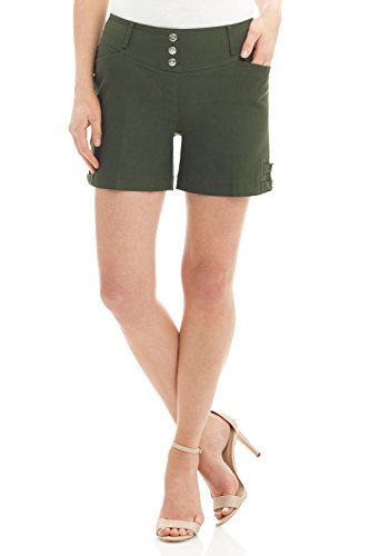 - Rekucci Women's Ease Into Comfort Stretchable Pull-On 5 inch Slimming Tab Short (16,Olive)