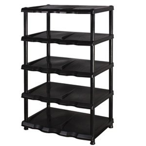 5 Tier Black Plastic Shoe Rack Shelf
