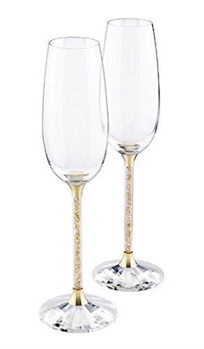 Swarovski Crystalline Golden Shadow Toasting Flutes, Pair ()