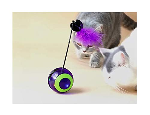 - Yvelife Bigeye Interactive Cat Toy Cat Light Toy with 4 Color Switching Automaticly,Tumbler Ball Feather Toy for Kitthen,with Bird Sound Build in (Batteries Included)