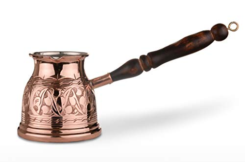 (MisterCopper NEW Premier Engraved Copper Turkish Greek Coffee Pot Coffee Maker With Wooden Handle)